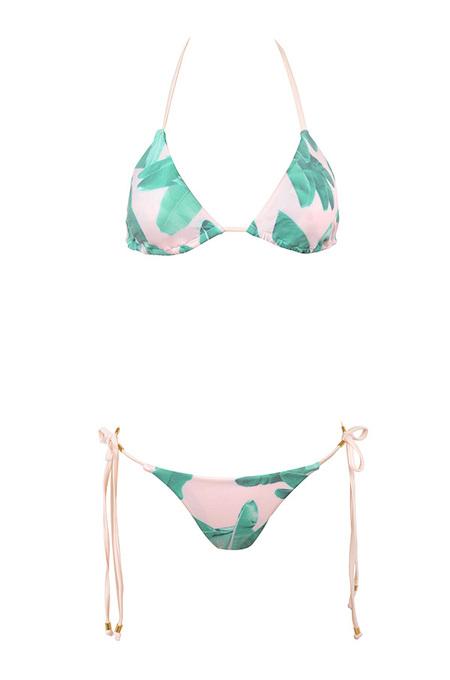 Bora Bora Green and Pink Palm Print Bikini