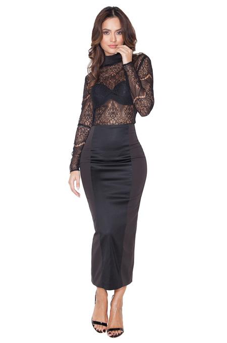 Raissa Black Satin and Stretch Jersey Midi Pencil Skirt