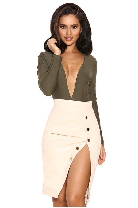 Maja Cream Vegan Leather Thigh Split Skirt