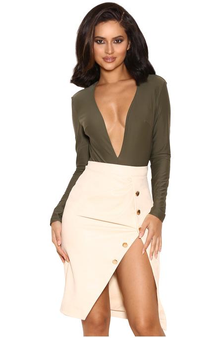 Lorenza Khaki Silky Jersey Deep V Bodysuit