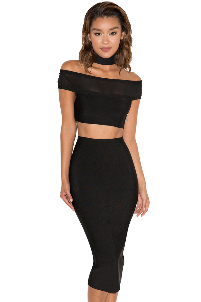 Roche Black Bandage and Mesh Off Shoulder Two Piece