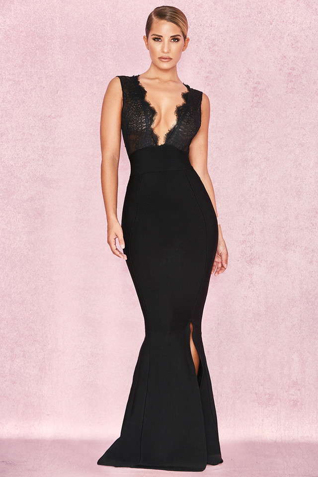 Balere Black Bandage and Lace Maxi Dress