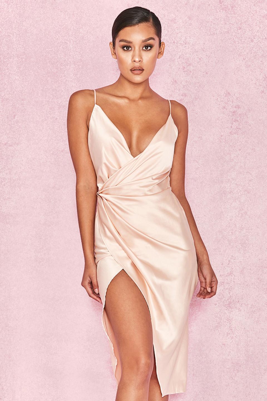 Coco Nude Satin Drape Back Dress