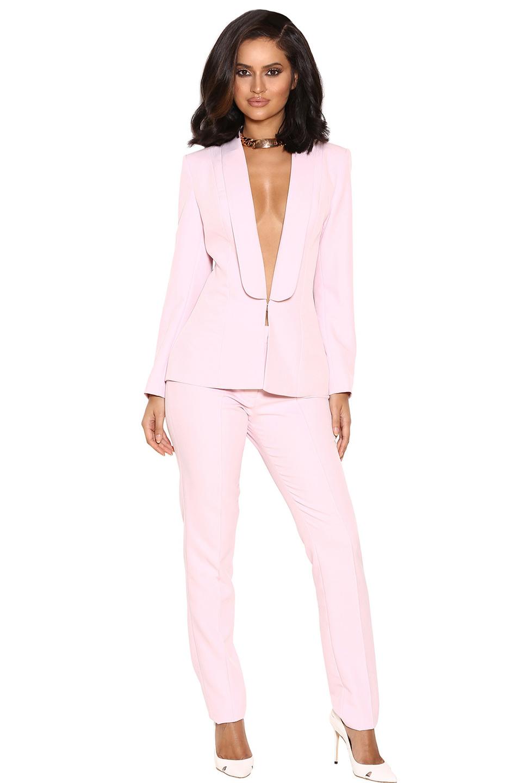 Tristana Light Pink Crepe Trouser Suit