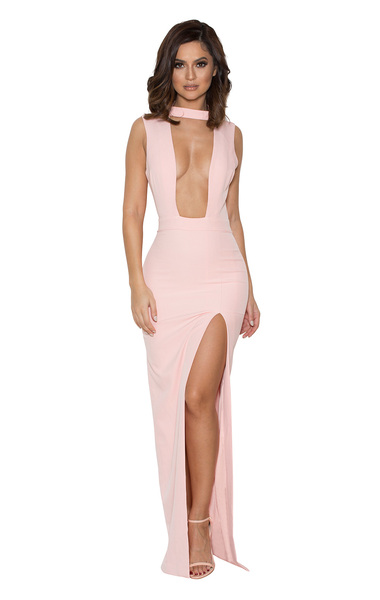 Jehane Pale Pink Cut Out Maxi Dress