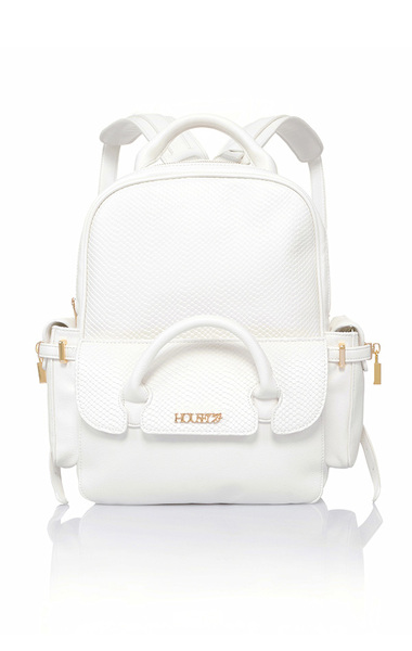 Show Off White Vegan Leather Back Pack