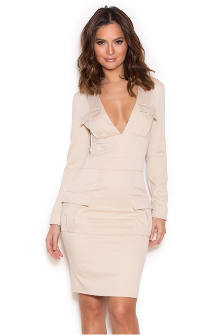 Alea Ecru Stretch Twill Deep V Dress