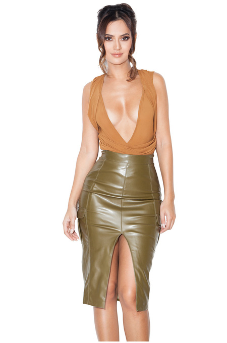 Irania Tan Mesh Wrap Over Bodysuit