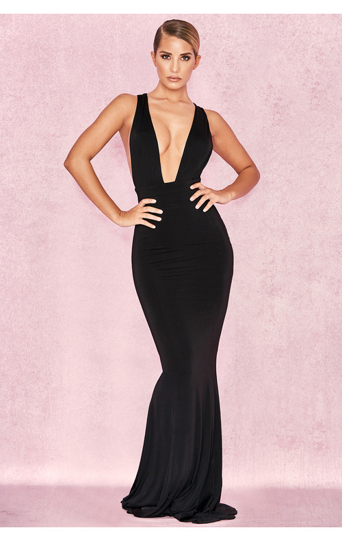 Miacova Black Silky Jersey Plunge Maxi Dress
