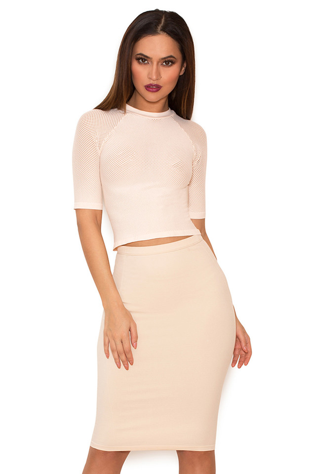 Sculpt Blush Knitted Stretch Mesh Cropped Top