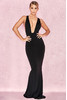 Miacova Black Silky Jersey Plunge Maxi Dress