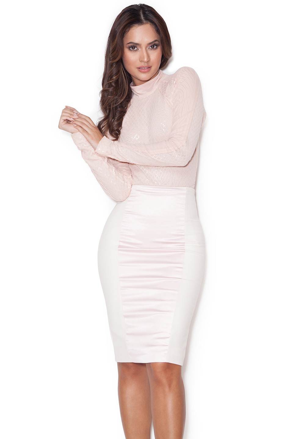 Raissa Pink Satin and Stretch Jersey Pencil Skirt