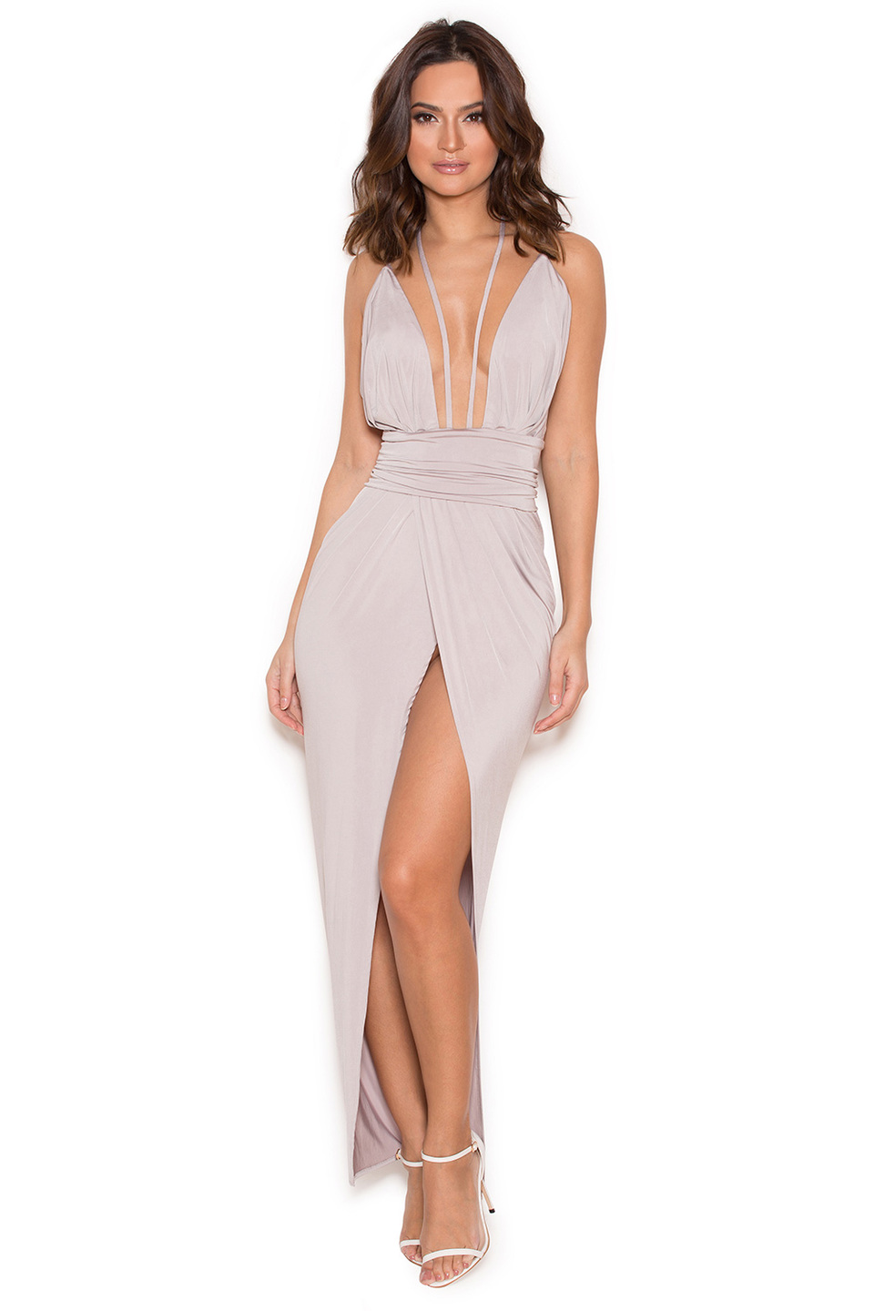 Sameh Grey Silky Jersey Thigh Split Dress