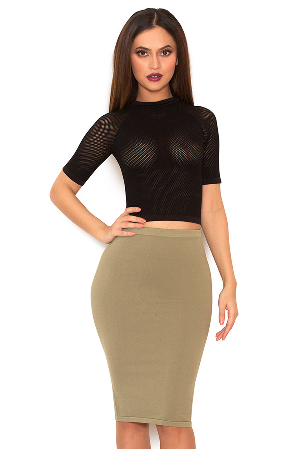 Sculpt Black Knitted Stretch Mesh Cropped Top