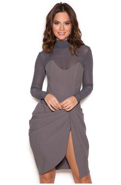 Klaudi Grey Draped Bustier Dress