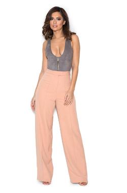 Klaudia Blush Pink Wide Leg Trousers