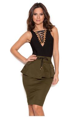 Martella Khaki Canvas Peplum Skirt