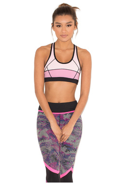 Karma Pink and Black Cropped Work Out Top