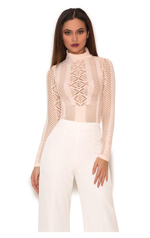 Ayanna Blush Lycra Knit Cut Out Bodysuit