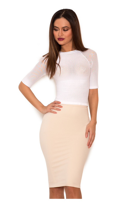 Sculpt White Knitted Stretch Mesh Cropped Top