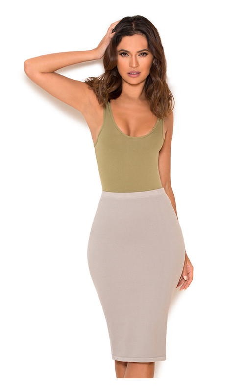 Shahla Grey Seamless Knit Pencil Skirt
