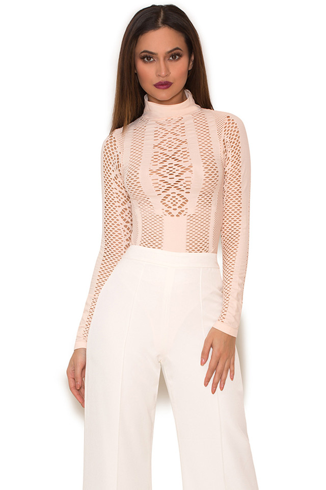 Ayanna Blush Lycra Knit Cut Out Bodysuit