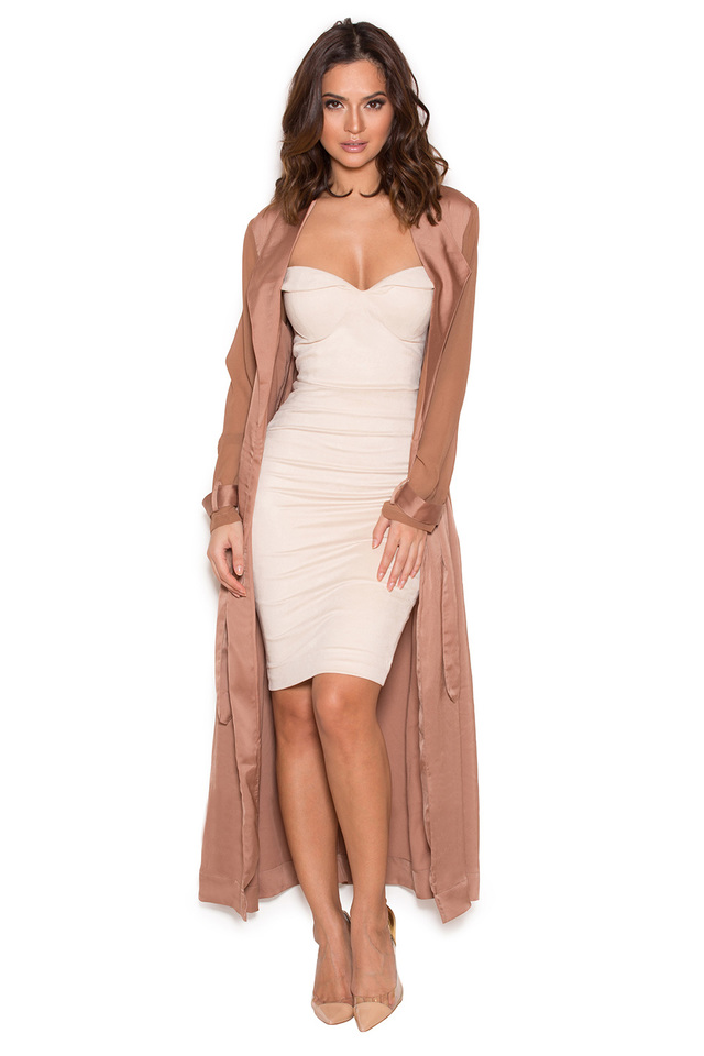 Coryn Rose Gold Silky Duster Coat