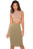 Shahla Khaki Seamless Knit Pencil Skirt