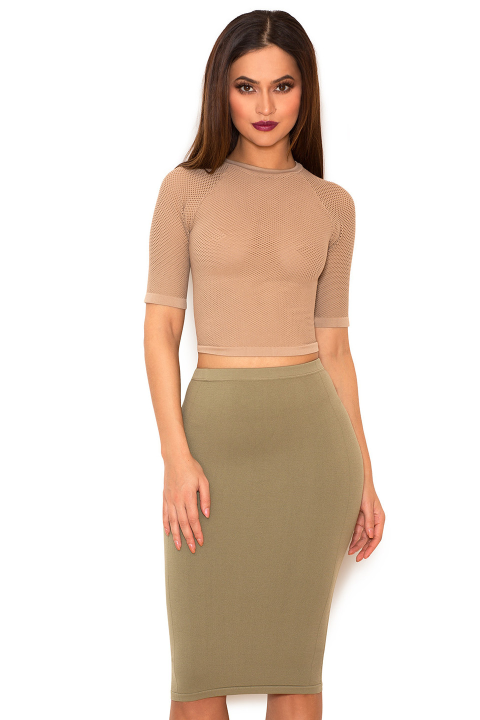 Sculpt Mocha Knitted Stretch Mesh Cropped Top