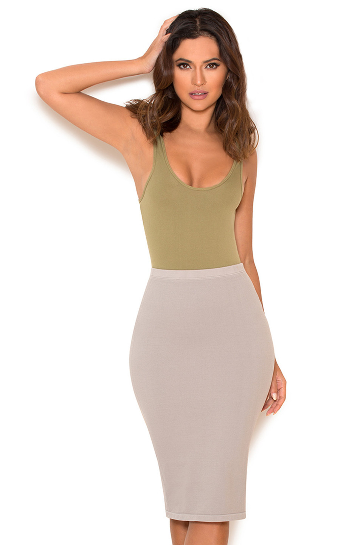 Shahla Grey Seamless Knit Pencil Skirt