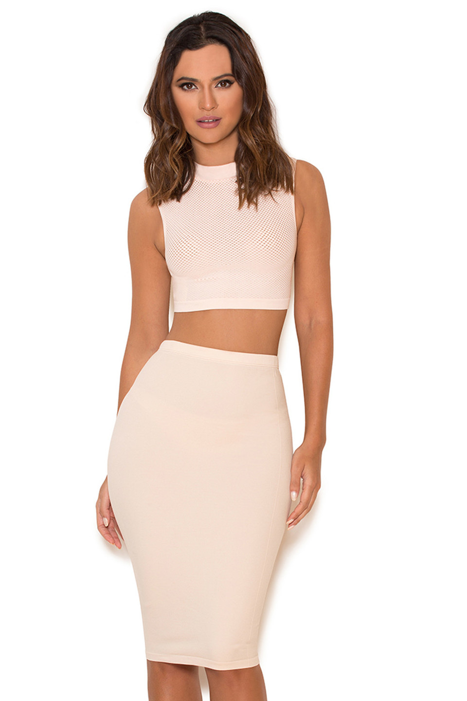 Shahla Nude Seamless Knit Pencil Skirt