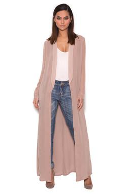 Carlene Taupe Sheer Chiffon Duster Coat