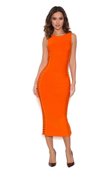 Martinique Burnt Orange Side Weave Bandage Dress