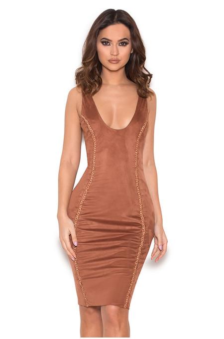 Alanis Copper Vegan Suede Sleeveless Dress