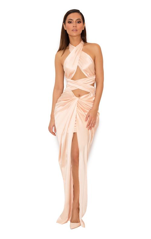 Cesare Blush Satin Halter Wrap Maxi Dress