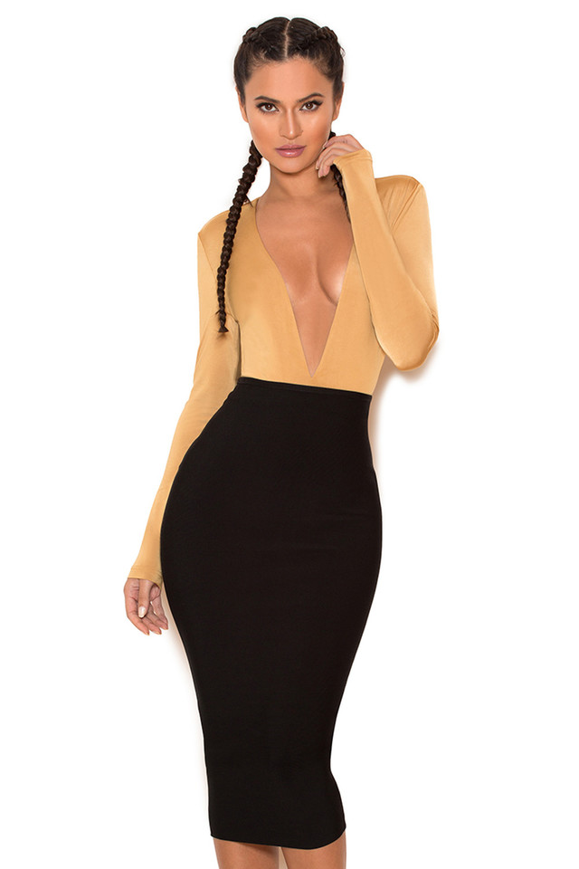 Lorenza Tan Silky Jersey Deep V Bodysuit