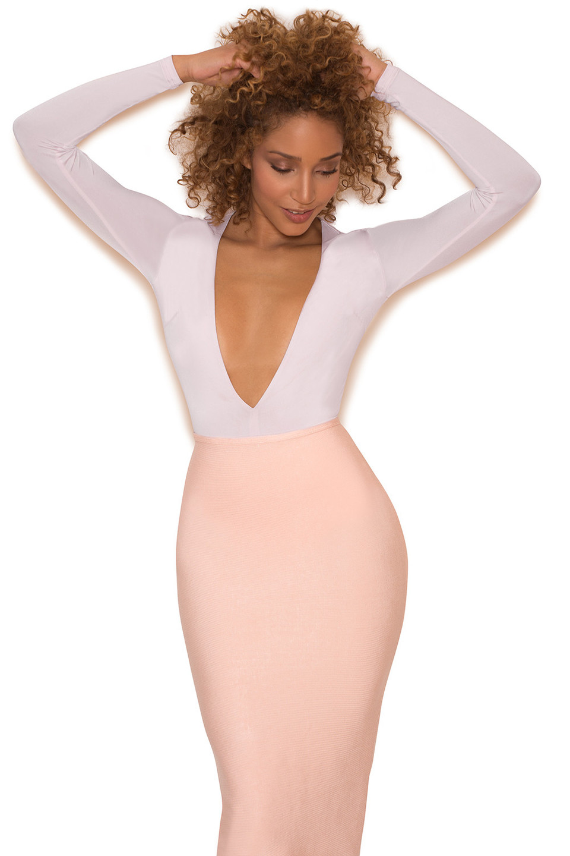 Lorenza Mink Silky Jersey Deep V Bodysuit