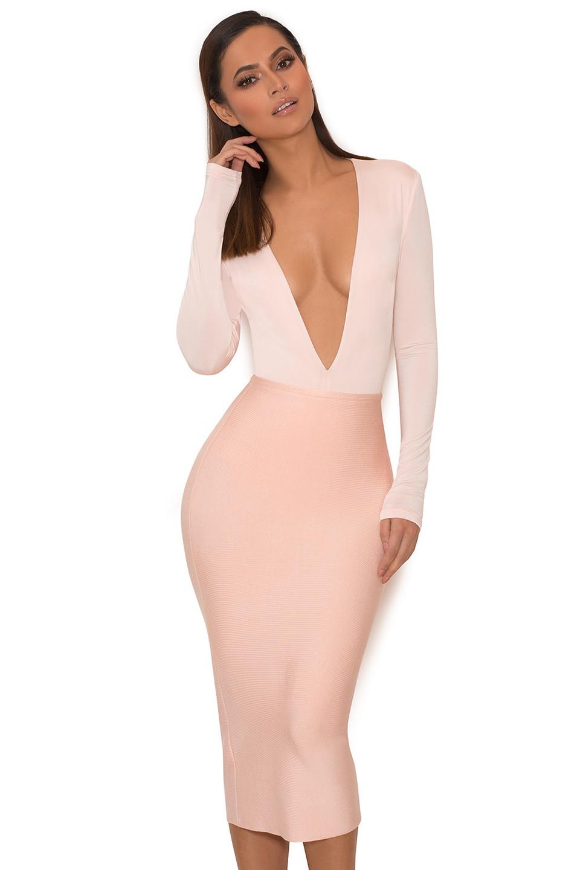 Lorenza Pink Silky Jersey Deep V Bodysuit