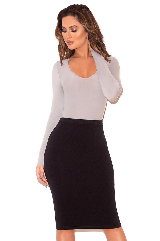 Rosella Grey Seamless Knit Scoop Neck Stretch Bodysuit