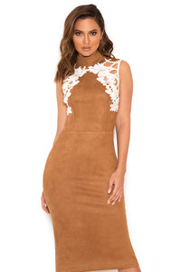 Rayna Tan Suedette and Lace Dress