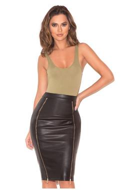 Gioia Black Vegan Leather Pencil Skirt