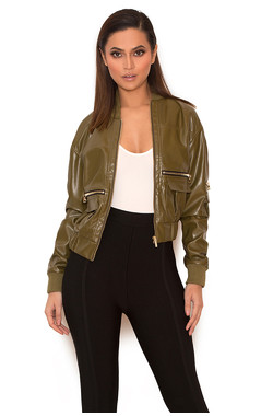 Ailani Khaki Vegan Leather Jacket