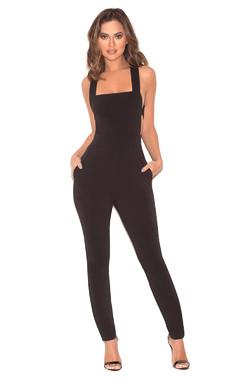 Chiarina Black Crepe Strappy Jumpsuit