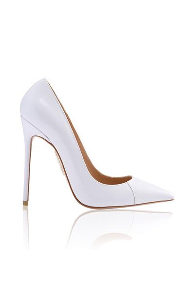 "PARIS True White Patent Leather Pointy Toe Heels 5"""