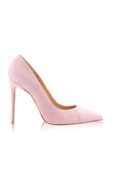 """PARIS Suede Pink Patent Leather Pointy Toe Heels 5"""""""