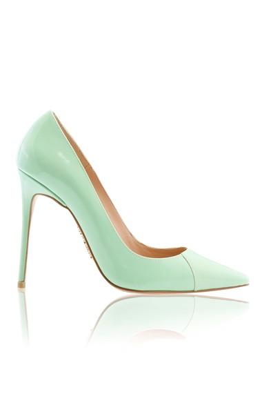 "PARIS Mint Patent Leather Pointy Toe Heels 4"""