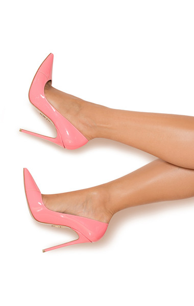 """PARIS Candy Pink Patent Leather Pointy Toe Heels 5"""""""