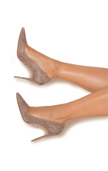"""PARIS Suede Mocha Patent Leather Pointy Toe Heels 5"""""""