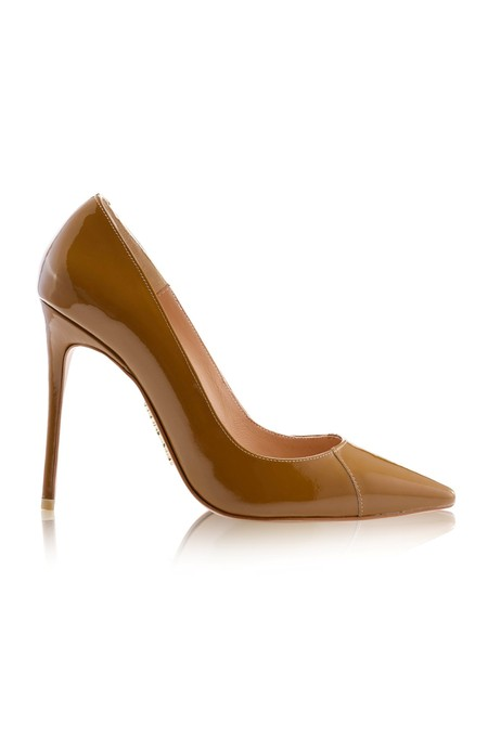 PARIS True Brown Patent Leather Pointy Toe Heels 4""