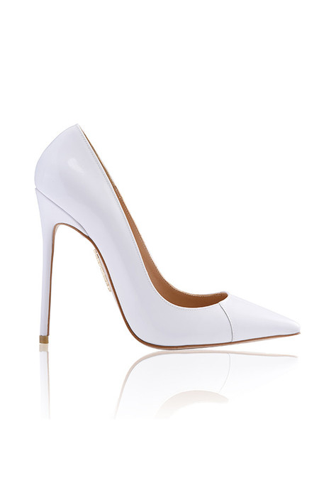 PARIS True White Patent Leather Pointy Toe Heels 5""